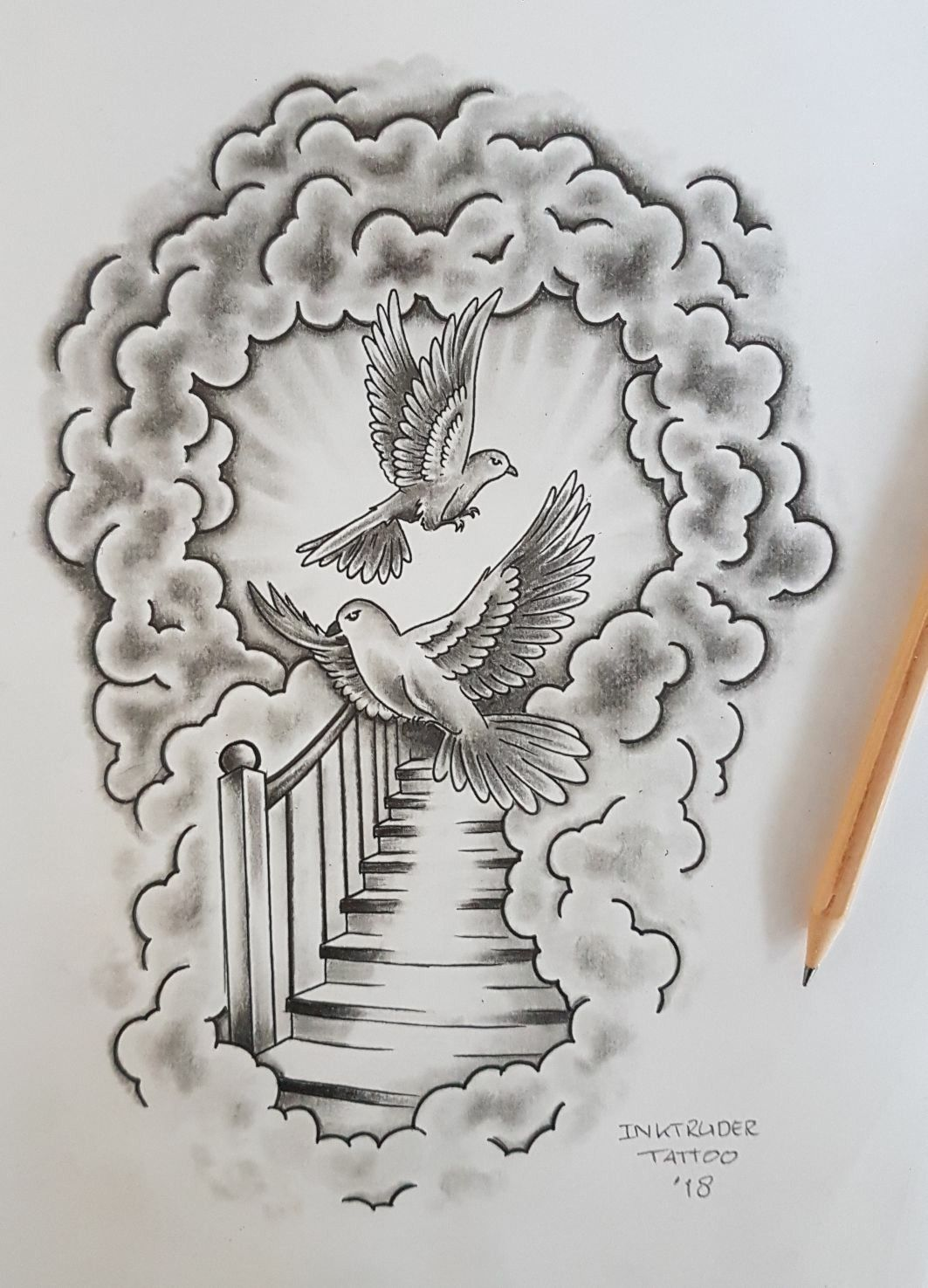 Cloud Tattoo Drawing: Outcome, Little Details Will Be Adjusted And Than