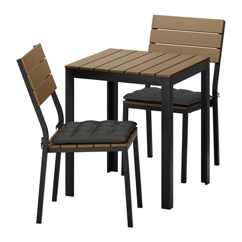 IKEA   FALSTER, Table+2 Chairs, Outdoor, Falster Black Brown/Hållö Black, ,  Polystyrene Slats Are Weather Resistant And Easy To Care For.