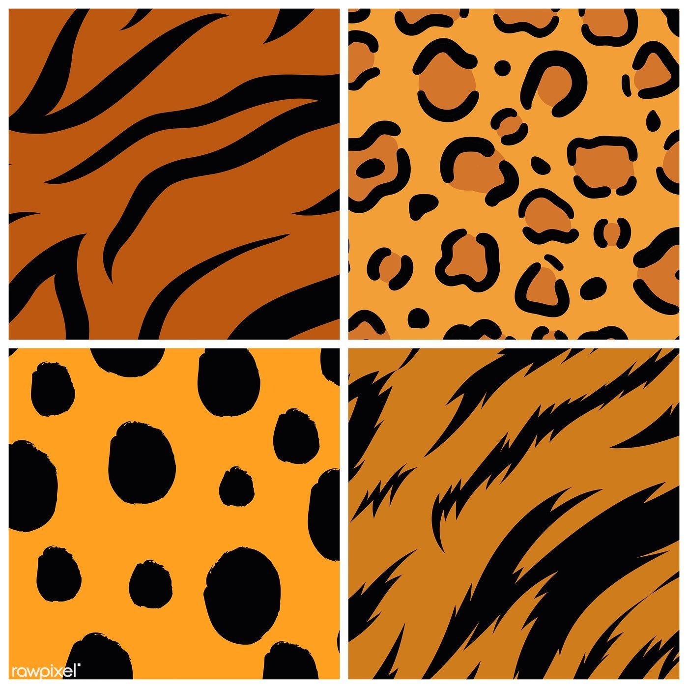 Set Of Seamless Animal Print Pattern Vectors Free Image By