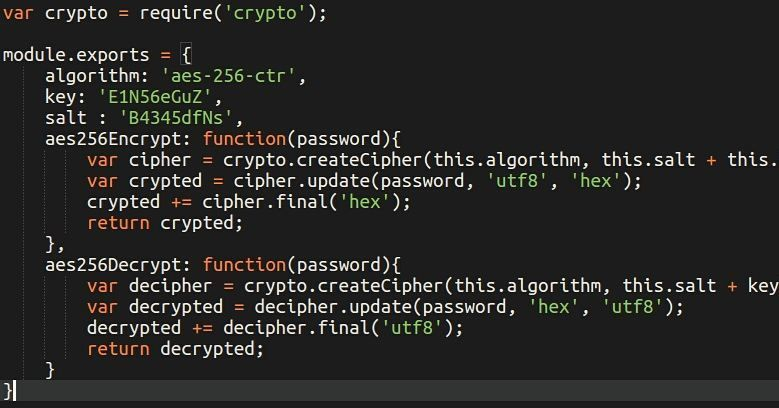 NodeJS - AES-256-CTR Encrypt/Decrypt  #javascript #angularjs