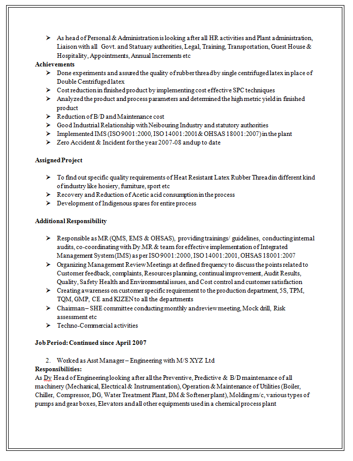 Excellent And Professional Assistant Manager Resume Sample Doc (2)