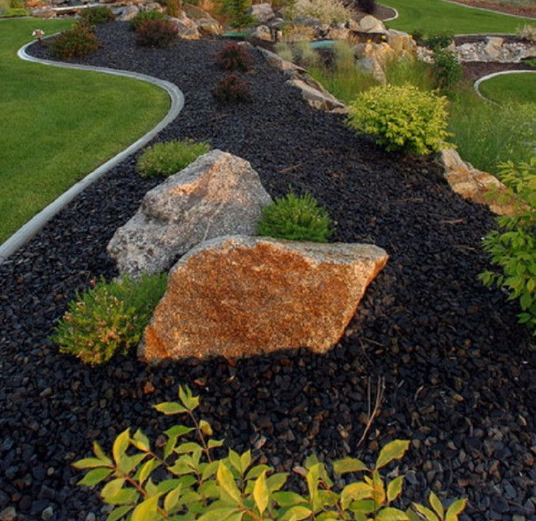 Black river rock landscaping garden yard and exterior for Landscaping with rocks