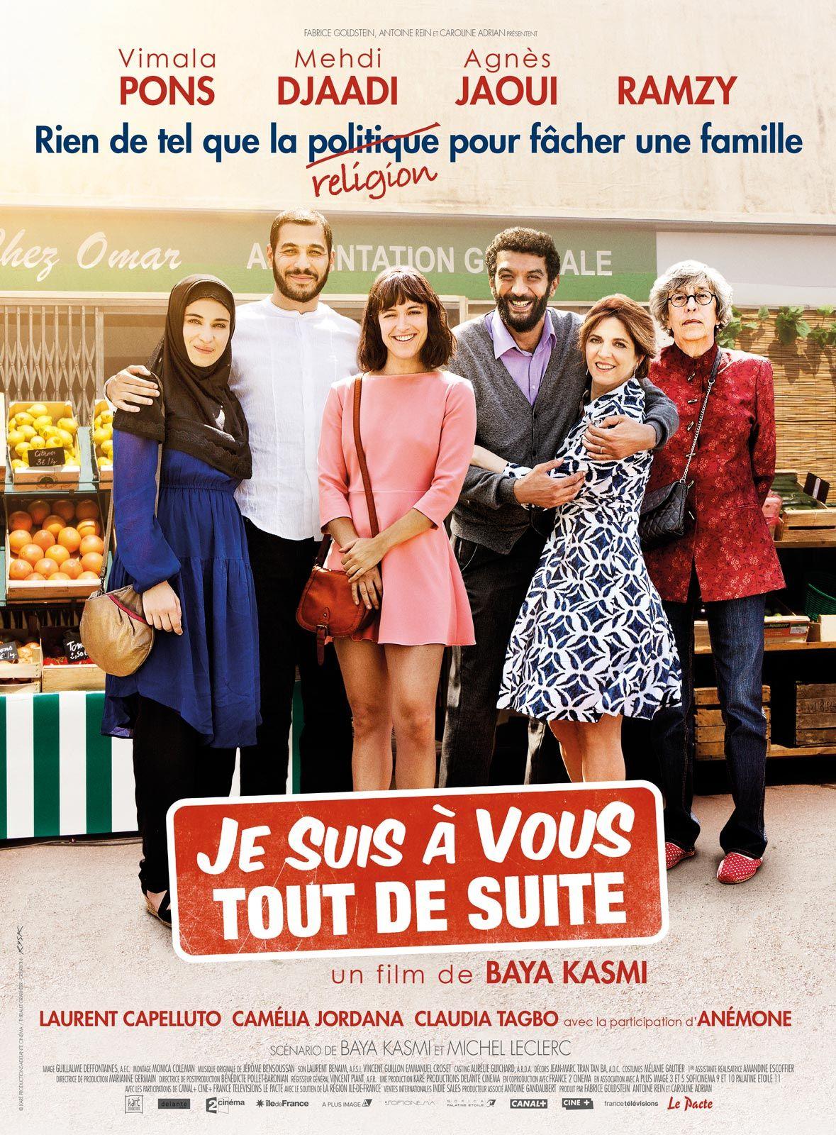 Je suis à vous tout de suite de B. Kasmi (2015 - Octobre). Un film  décalé, farfelu et atypique, mais bien moins léger que l'affiche, le pitch ne laissent l'imaginer. Pourquoi pas !