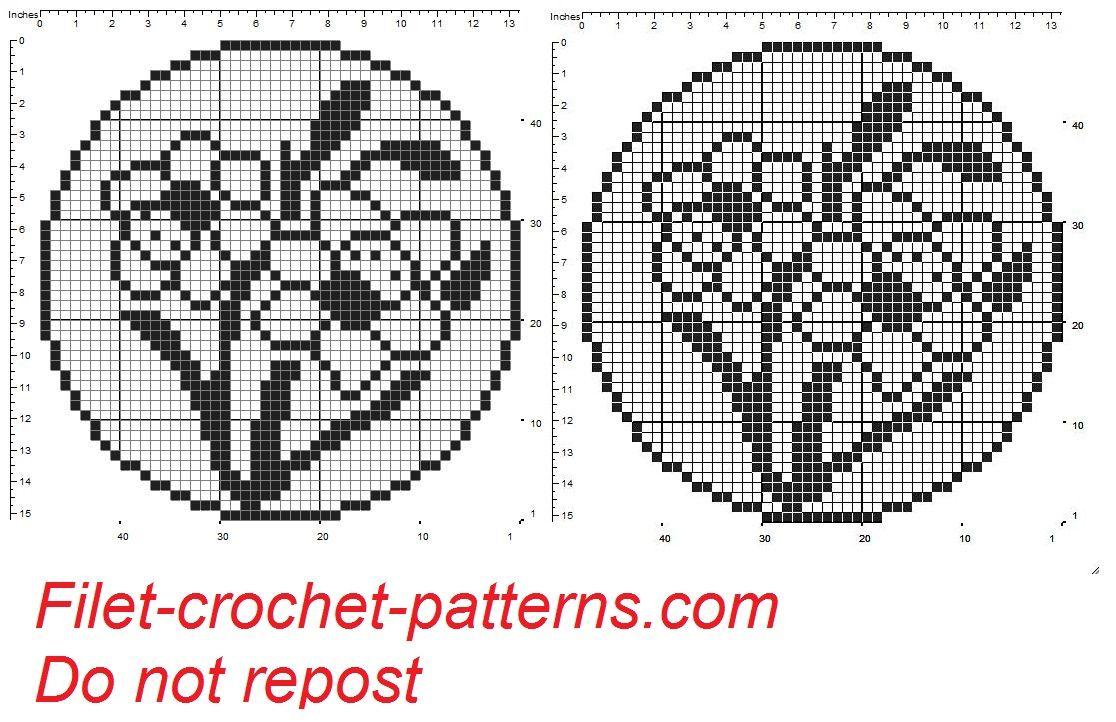 Round dolily wit daffodils filet crochet pattern | filet crochet ...