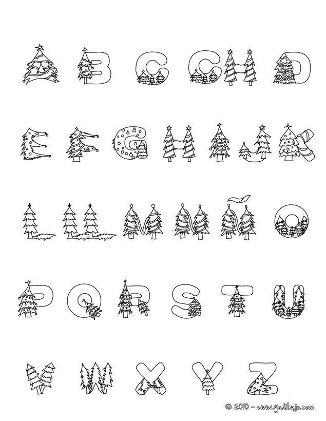 Dibujo para colorear : abecedario arbol de navidad | letras ...