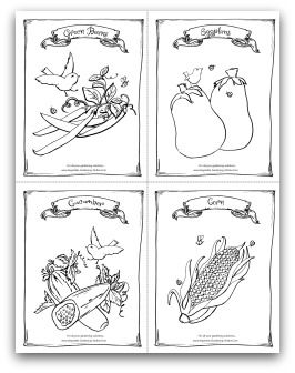 Free printable garden green beans, eggplant, cucumber, and corn ...