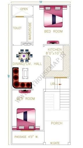 Image Result For House Plan 20 X 50 Sq Ft House Map Home Map Design 20x40 House Plans
