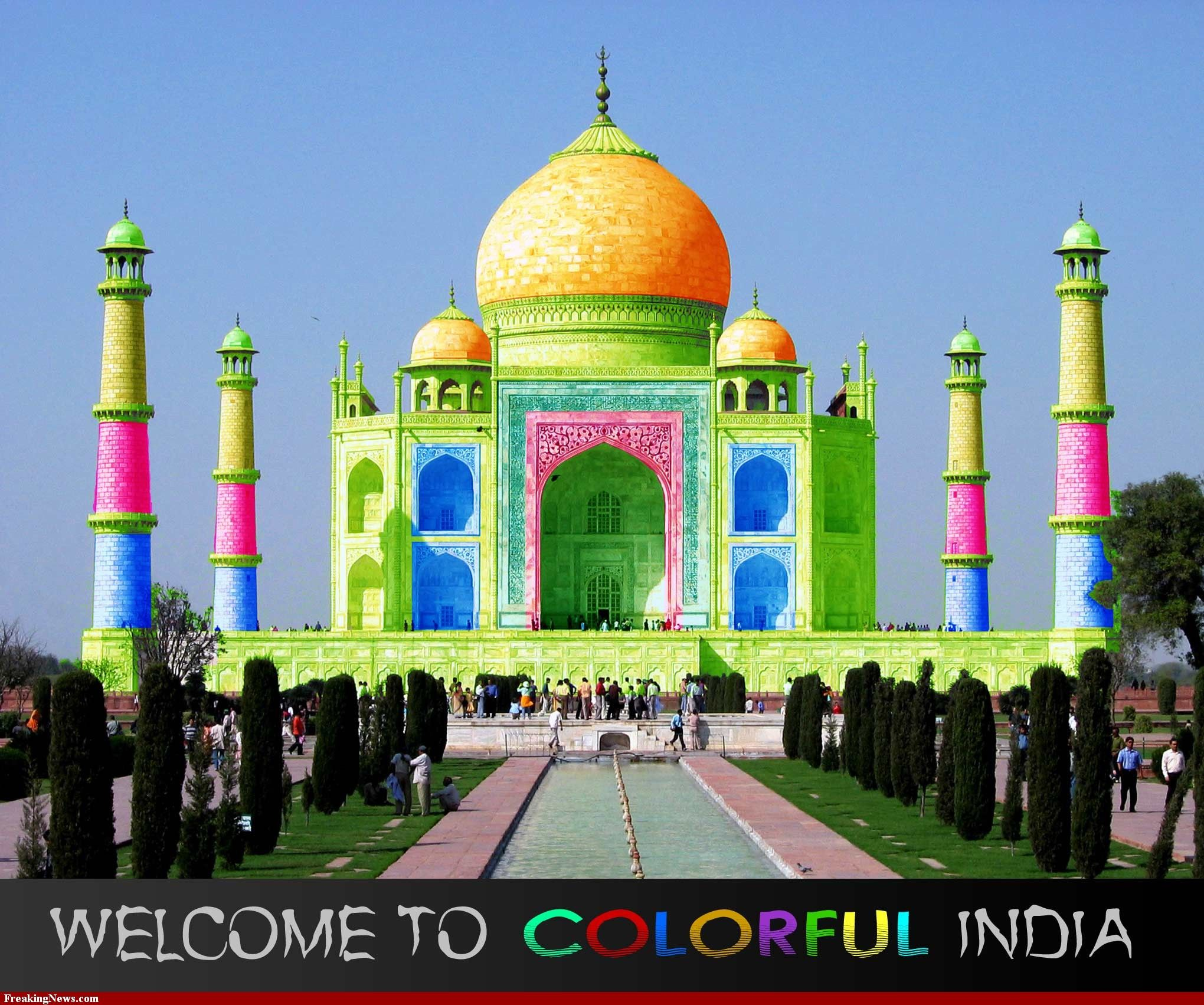 Welcome To Colorful India Tourism Poster On The Bucket