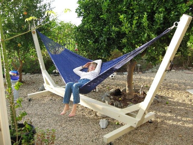 outdoor eno hammock wood stand and blue shade