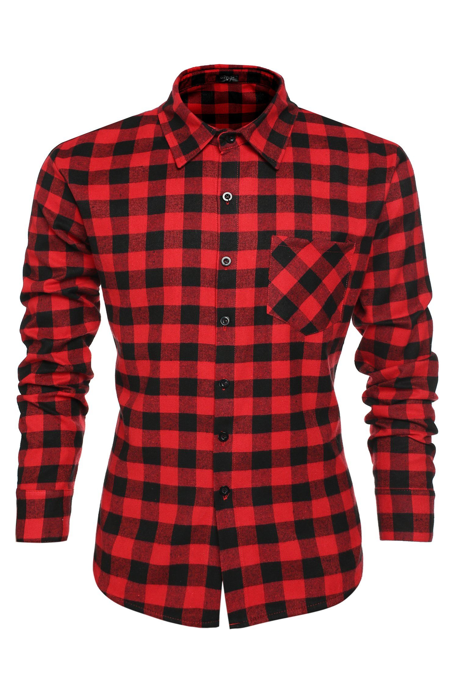 4e533273 Coofandy Men's Casual Plaid Long Sleeve Shirt Slim Fit T-shirts at Amazon  Men's Clothing store: