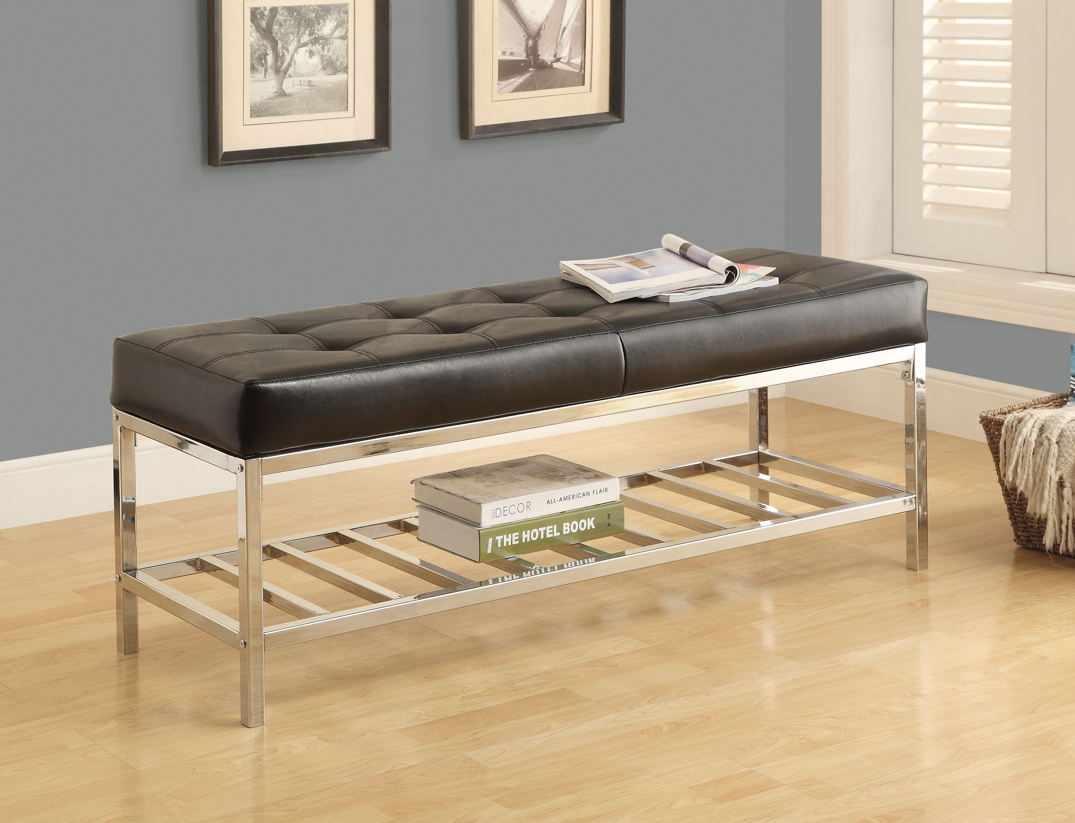 Monarch Specialties Black 48 Leatherette Bench With Chrome Frame Reviews Goedekers Com With Images Black Furniture Living Room Stylish Living Room Furniture Leather Bedroom