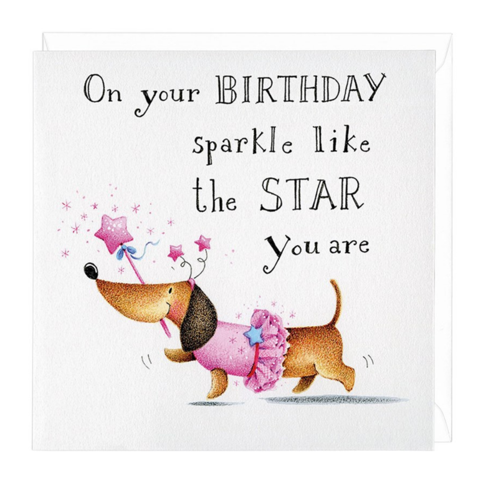 Dachshund Birthday Sparkle Greeting Card Doxie Love Birthday