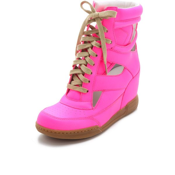 Marc by Marc Jacobs Neon Cutout Wedge Sneakers ($328) ❤ liked on Polyvore