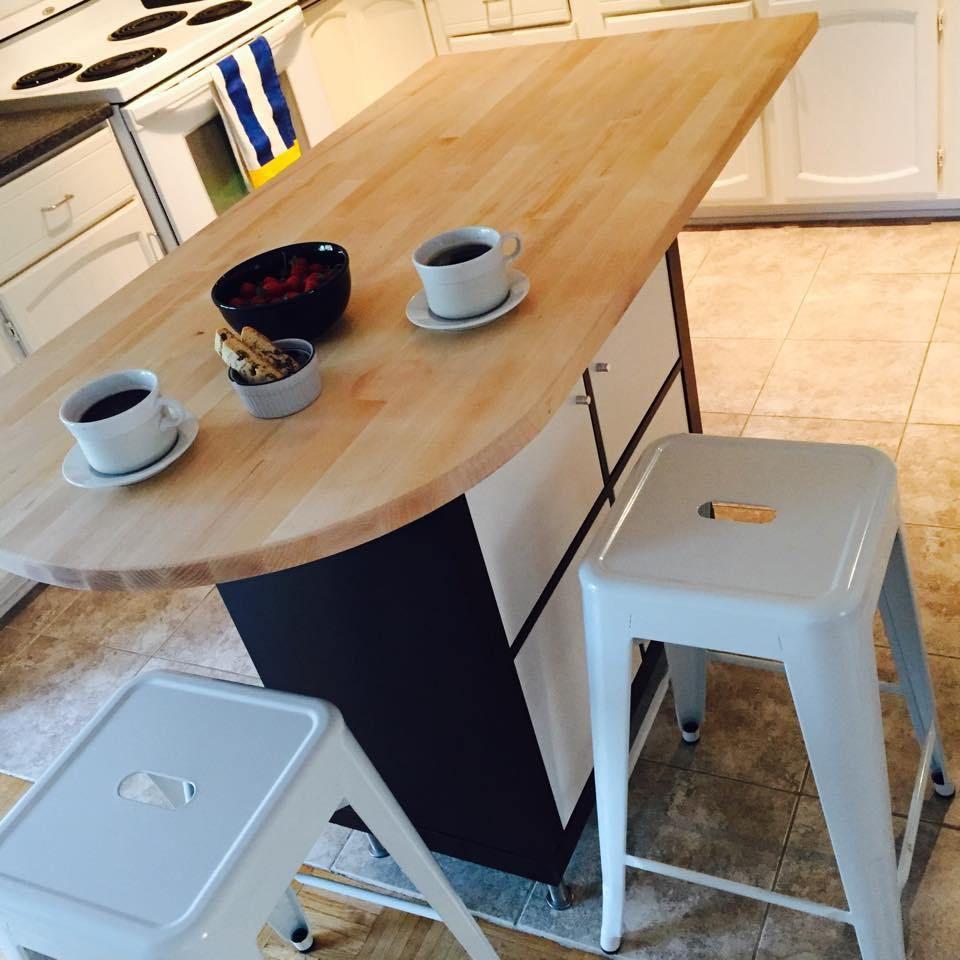 Ikea Kallax Mit Ikea Kücheninsel   Schwarz Weiß Küchenboden Pvc Fliesen