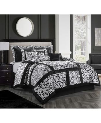 Amazon 7 Piece Full Comforter Set Black White Comforter Sets