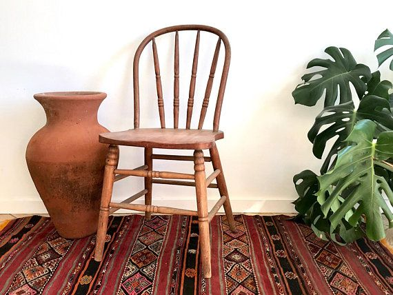 Spindle Back Farmhouse Chair Solid Wood Rustic Wooden