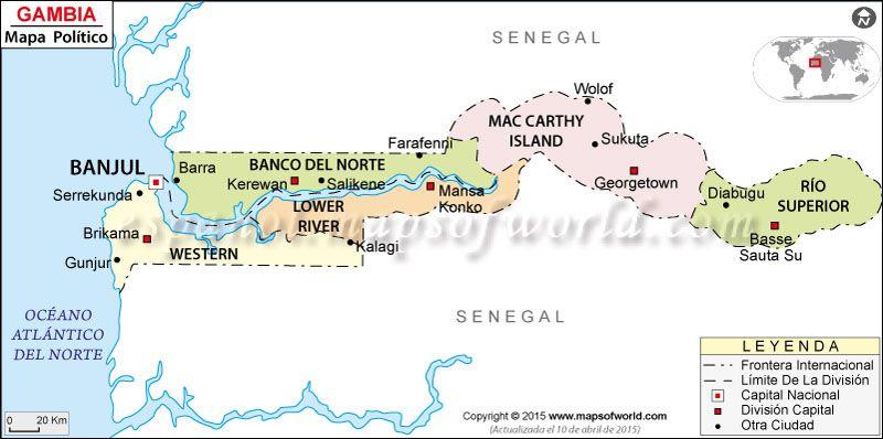 El mapa de Gambia