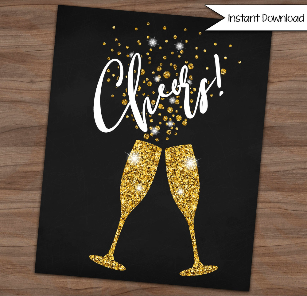 Cheers Printable Chalkboard Sign New Year Sign Wall Art Etsy Etsy Wall Art Wall Signs Chalkboard Signs