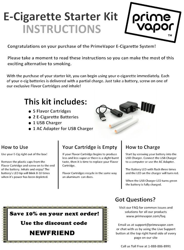 E Cigarette Starter Kit Instructions Featured Products Pinterest