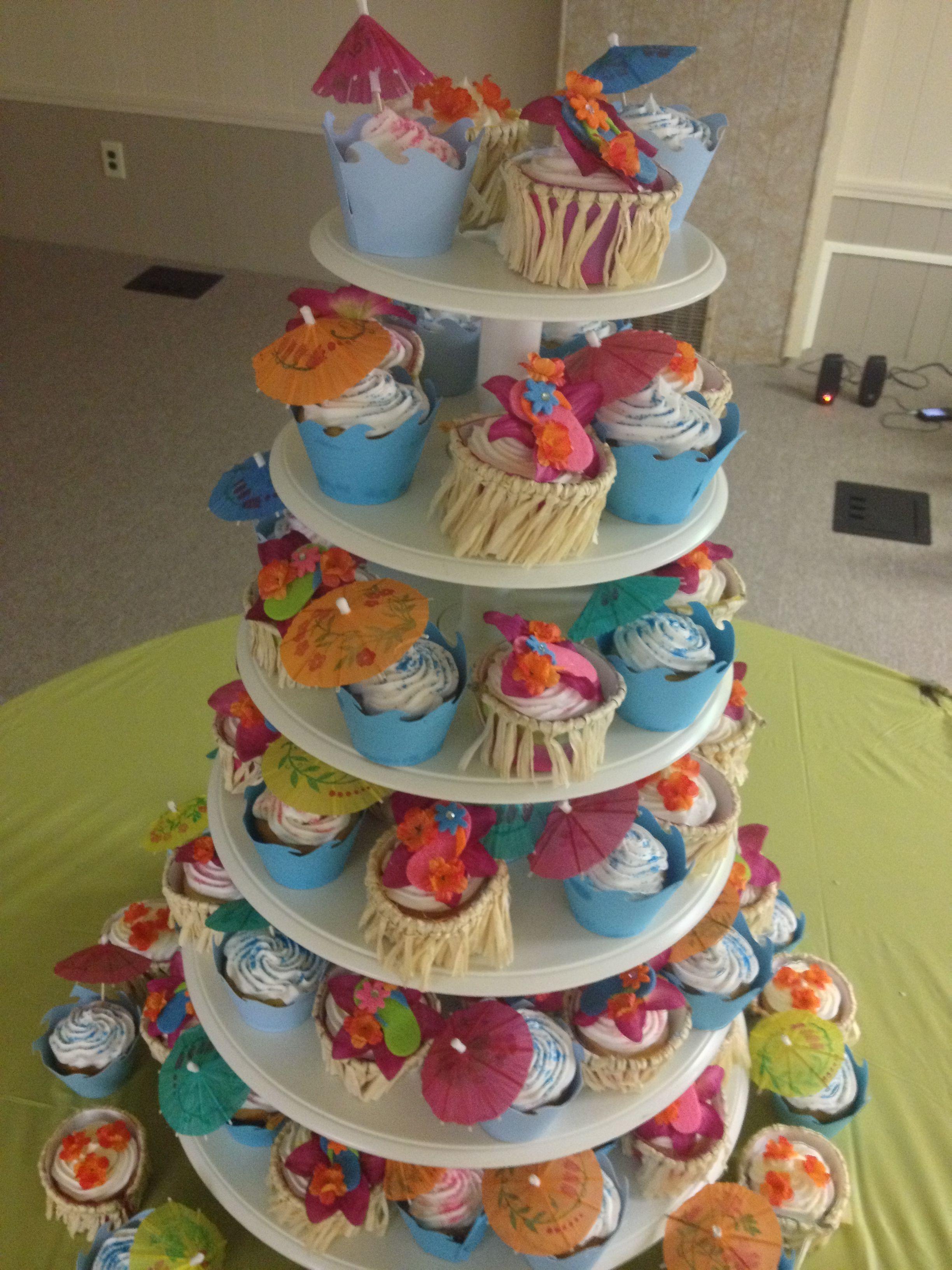 luau bridal shower cake
