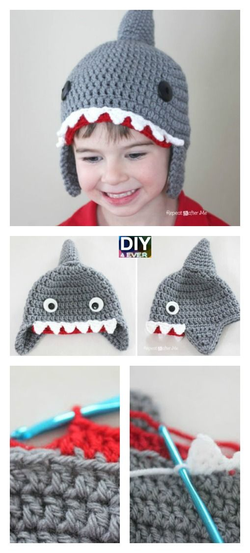 Cute Crochet Shark Hat Free Pattern | Pinterest | Gorros, Ganchillo ...