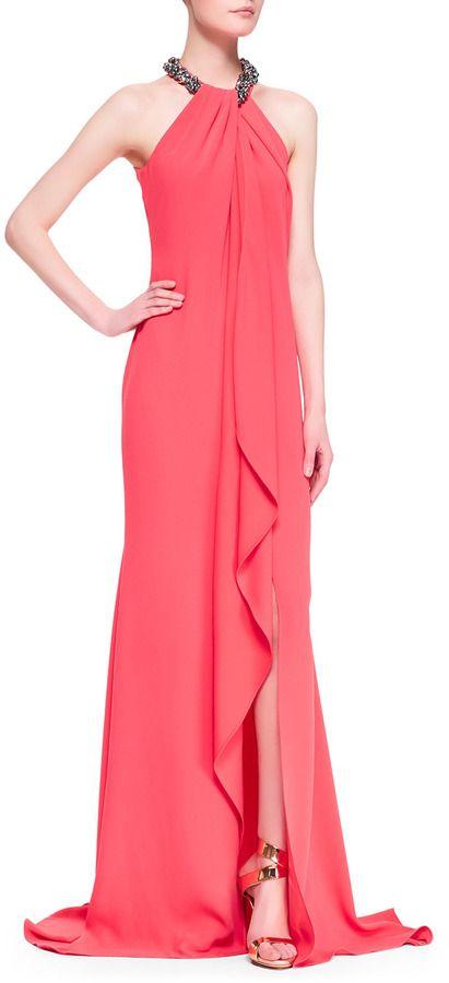 59090db7cc6 Carmen Marc Valvo Beaded Halter Draped-Front Gown on shopstyle.com ...