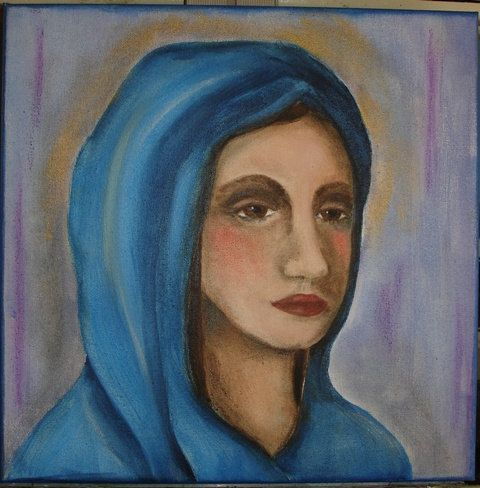Pensive Madonna     ooak in acrylic paint lovely by OneWildSwan, SOLD!