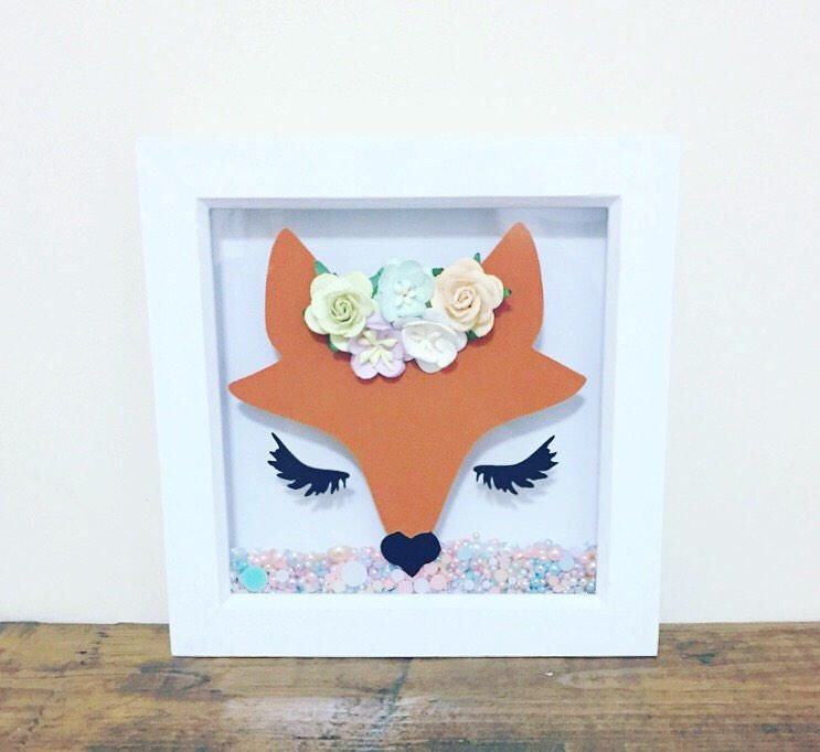 Fox Frame Paper Flower Crown Box Kids Room Decor Wall Art Bedroom Nursery Gifts For S