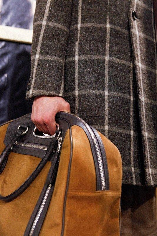 Kolor AW15 Mens Suede Tan Holdall Bag Print Coat