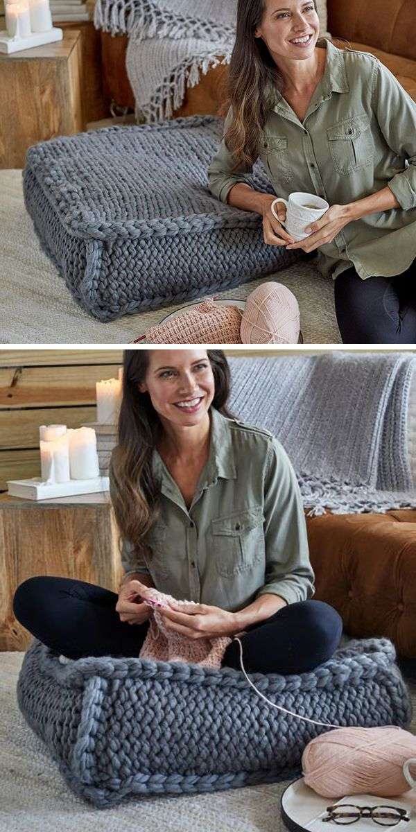 Free Knitting Pattern for Easy Extra Seating Floor Pillow - Easy jumbo cushion knit flat in 4 pieces. It's easy to knit with jumbo yarn and is filled with king size quilt batting or comforter. Finished measurement: 26 wide x 26 long x 10 high. Designed by Heather Lodinksy for Red Heart. #knitting