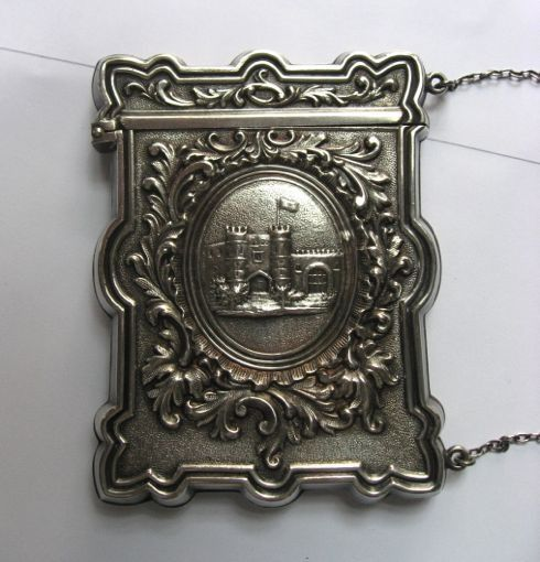 wood hughes sterling silver castle top card case c1850s smp