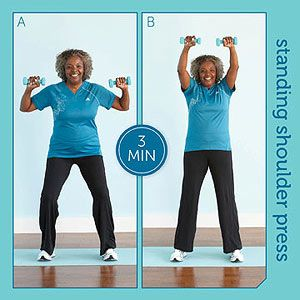 20 minute toning with resistance training | Standing Shoulder Press