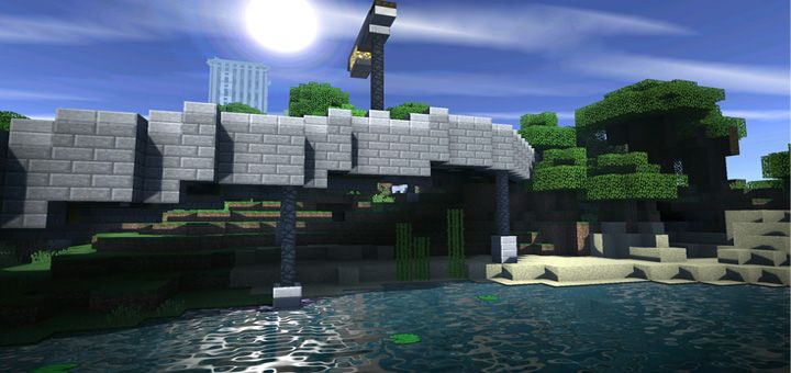 This Is To Date The Most Realistic Shaders Pack For Minecraft Pe The Light Of The Sun And Moon Shimmers Beautifully When Reflected On The Salvamento Rapiditas