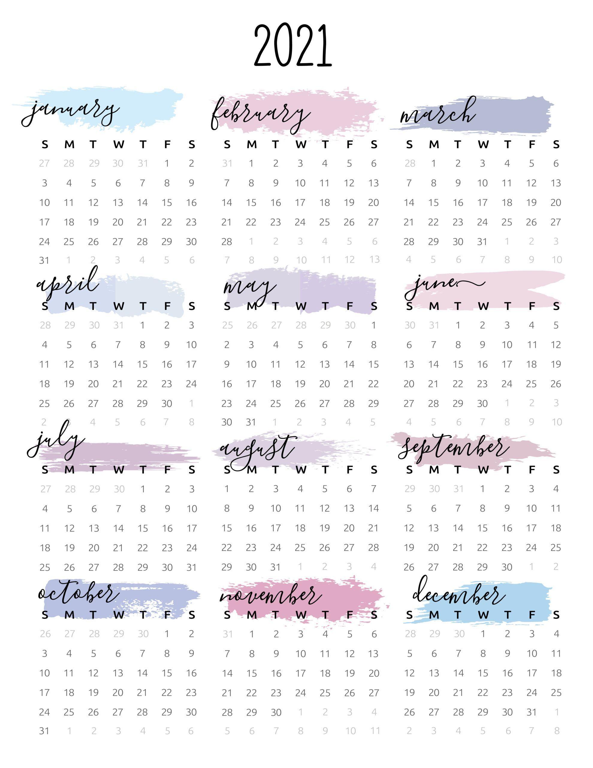 Watercolor One Page 2021 Calendar