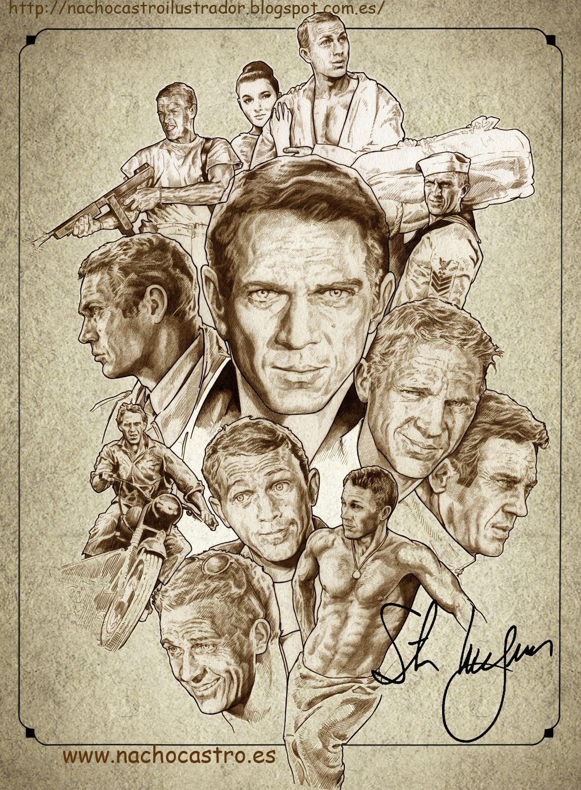 "Steve McQueen, illustration from the book ""Hombres de Hollywood"".Nacho Castro.Diábolo ediciones"