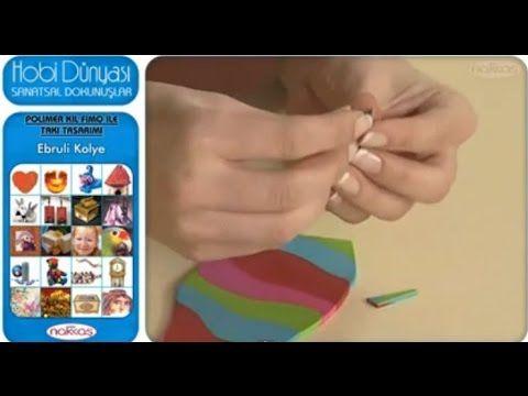 Polimer Kil Fimo İle Takı Tasarımı - Ebruli Kolye - YouTube