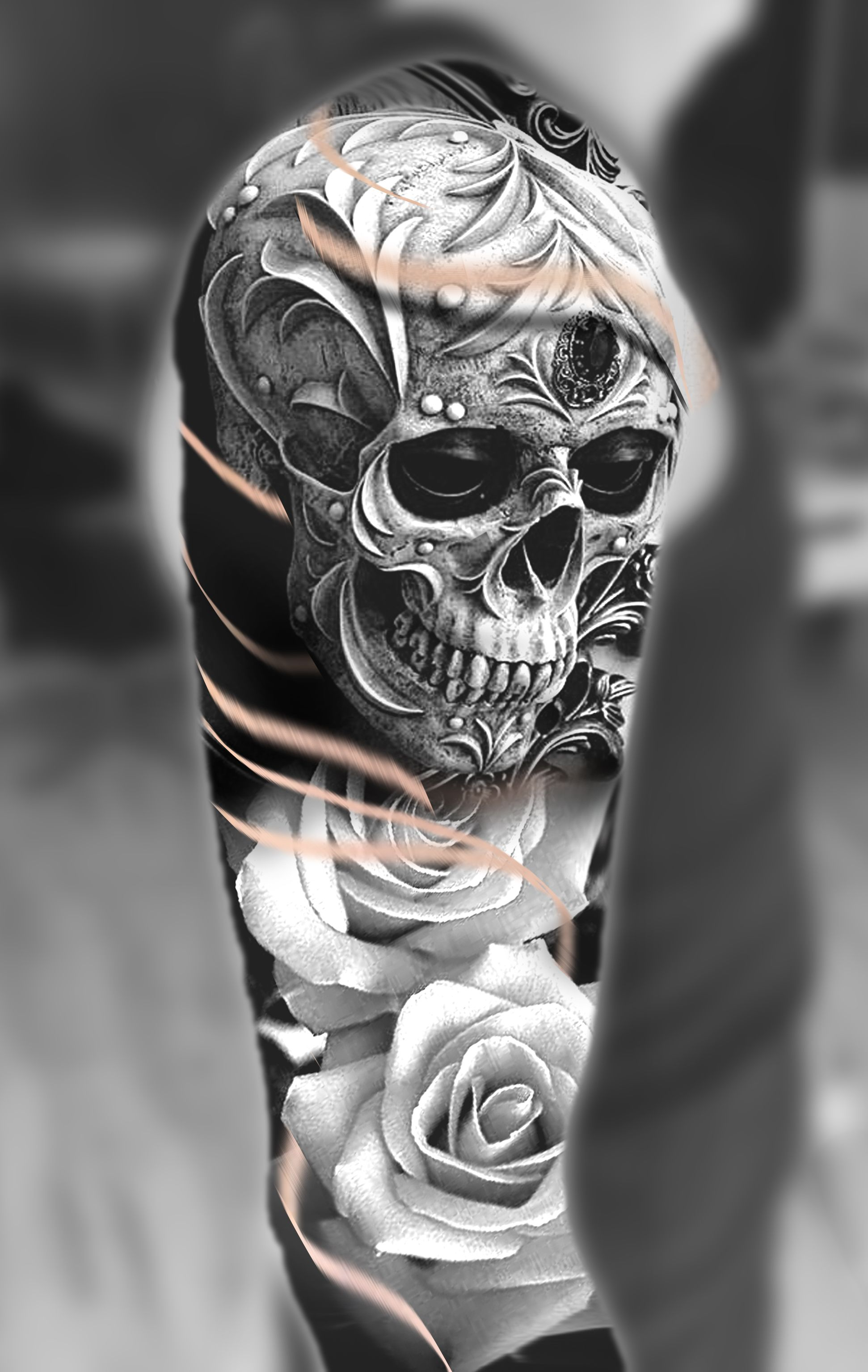 shoulder skull rose tattoo - 736×1162