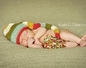 Love the colors! PATTERN Crochet Long Striped Elf Hat 4 Sizes Newborn to Toddler. $3.50, via Etsy.
