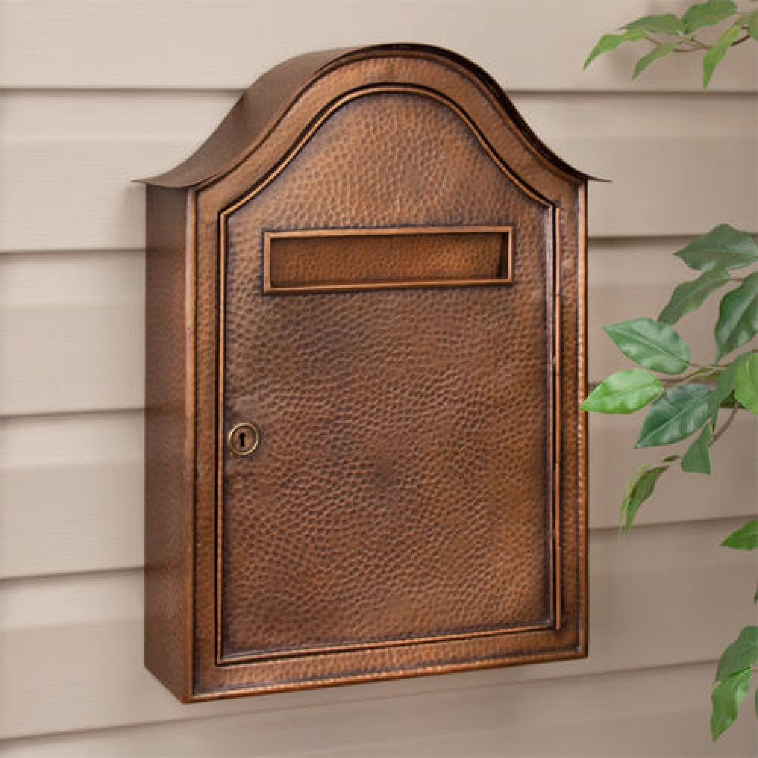 Large Hammered Copper Locking Wall Mount Mailbox Antique Copper Outdoor Wall Mount Mailbox Mounted Mailbox Copper Mailbox