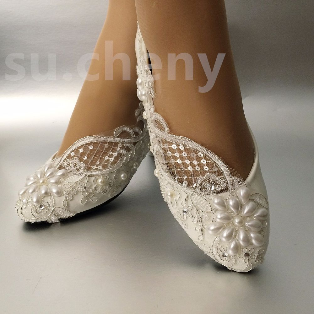 Details About Su Cheny Lace White Ivory Pearls Flats Low High Heel