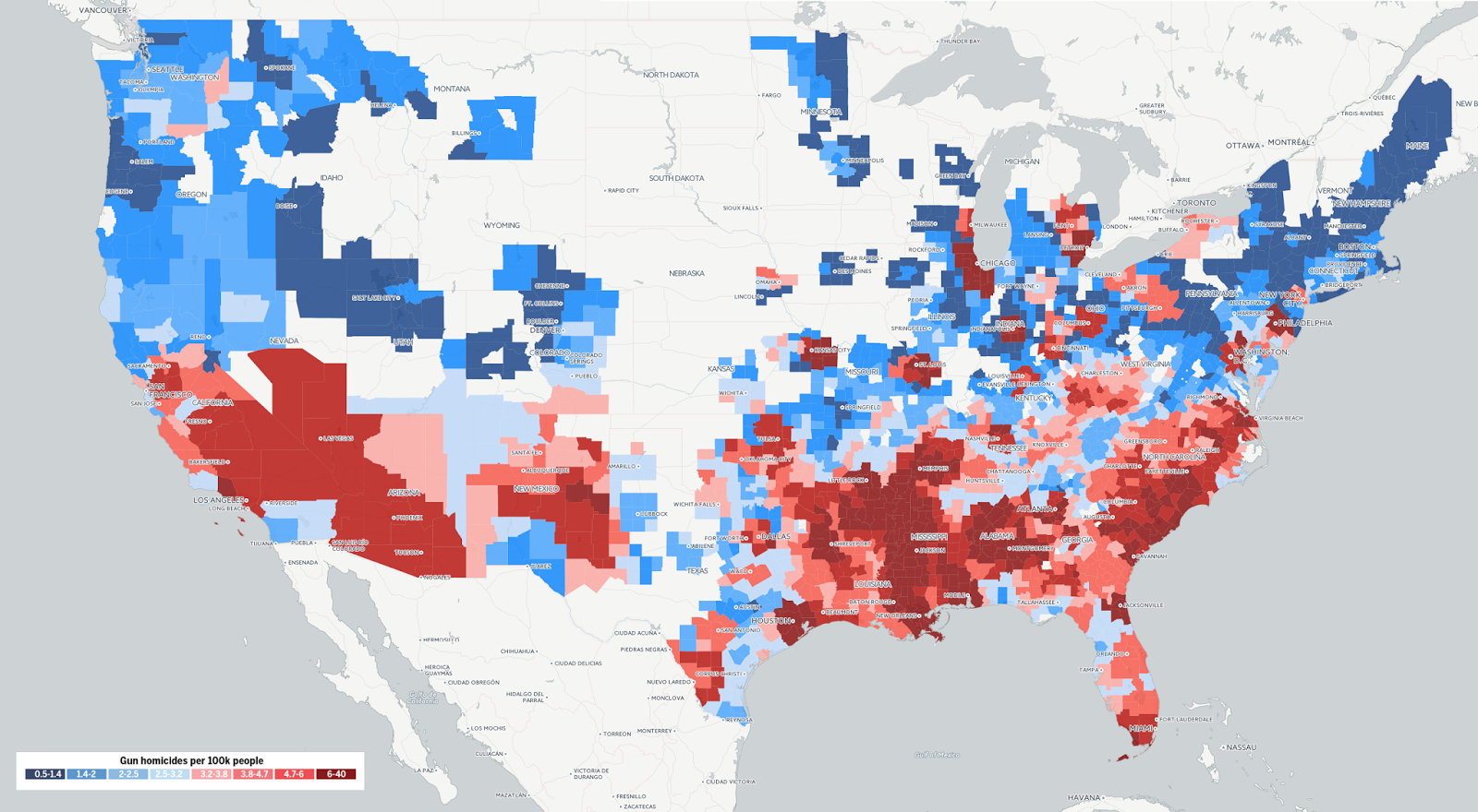 Crime Map Density Us - Us crime map by county