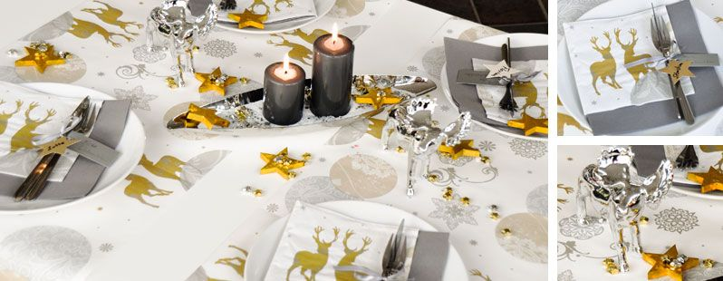 Tischdeko weihnachten gold  Tischdekoration zu Weihnachten und Advent Silber trifft Gold bei ...