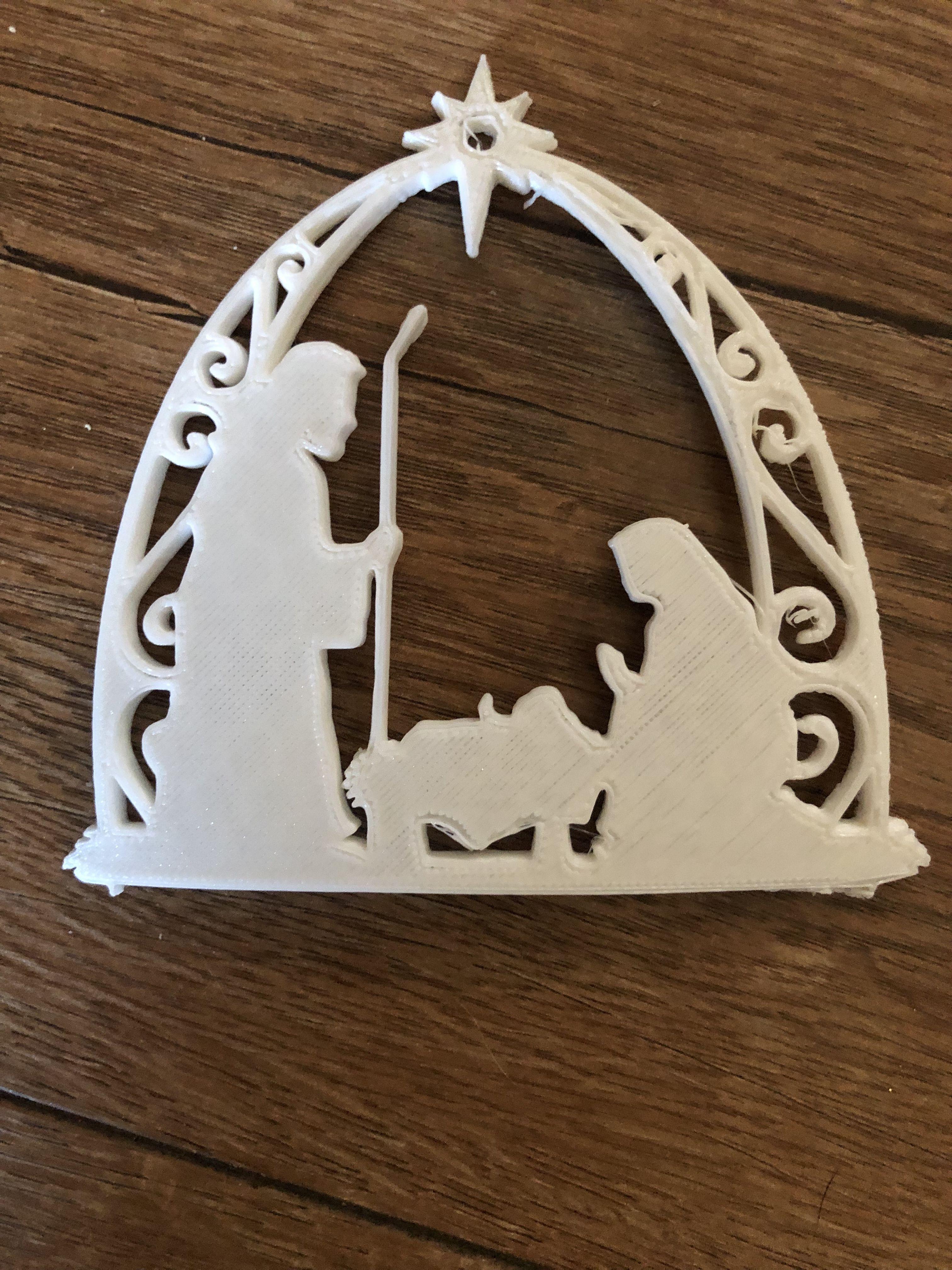 Nativity ornament created on 3d printer