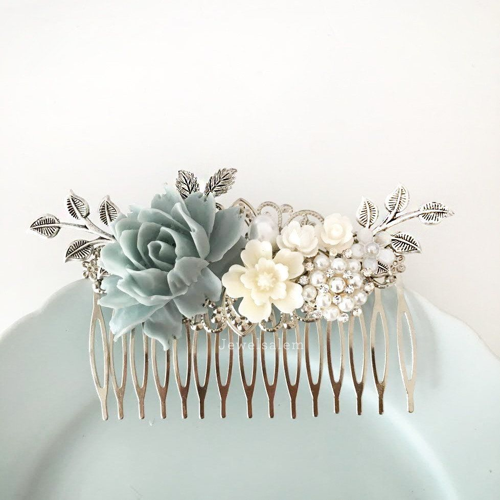 lydia - silver wedding hair accessories romantic dusk blue bridal
