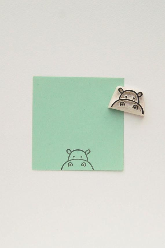 Hippo stamp, custom rubber stamp, animal stamps, best friend gift, signature stamp, birthday gift, hippo invitation