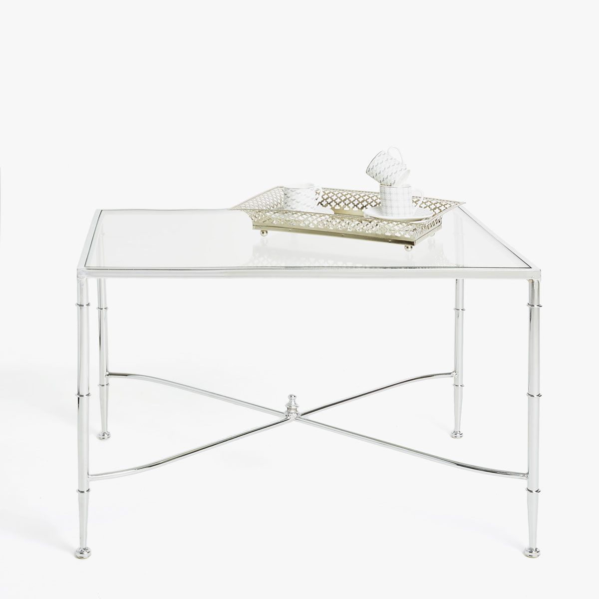 Image 1 Du Produit Table Verre Base Metallique Croisee Glass Table Table Coffee Table