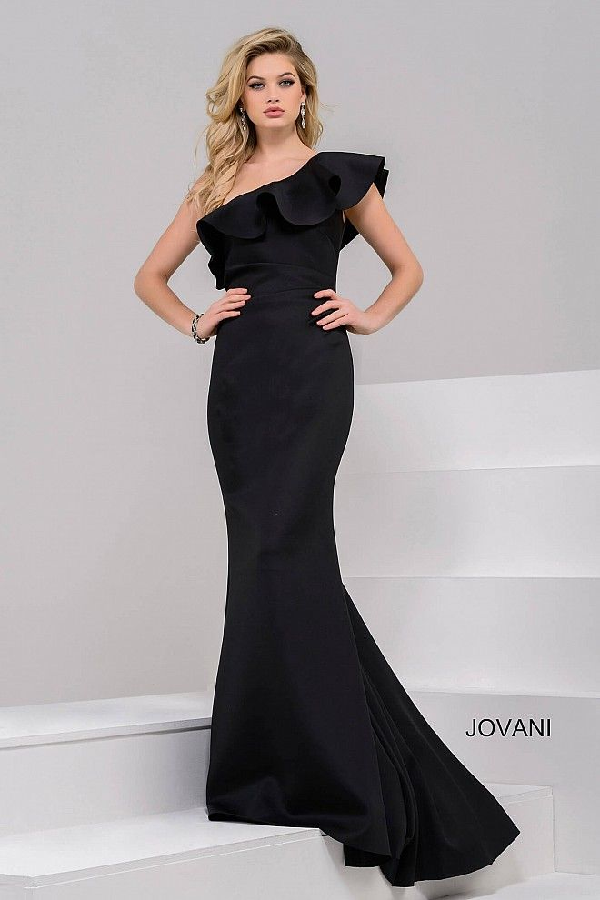 Elegant and simple floor length form fitting black scuba gown features one  shoulder bodice ruched on the waistline with ruffled neckline. 2dd47006c4dc