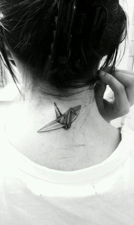 Paper Crane Tattoo On Neck For Girls Diy Neck Tattoos Neck Tattoo Tattoos Cool Small Tattoos