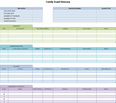 Family Travel Itinerary Template for Excel   ace summer   Pinterest ...