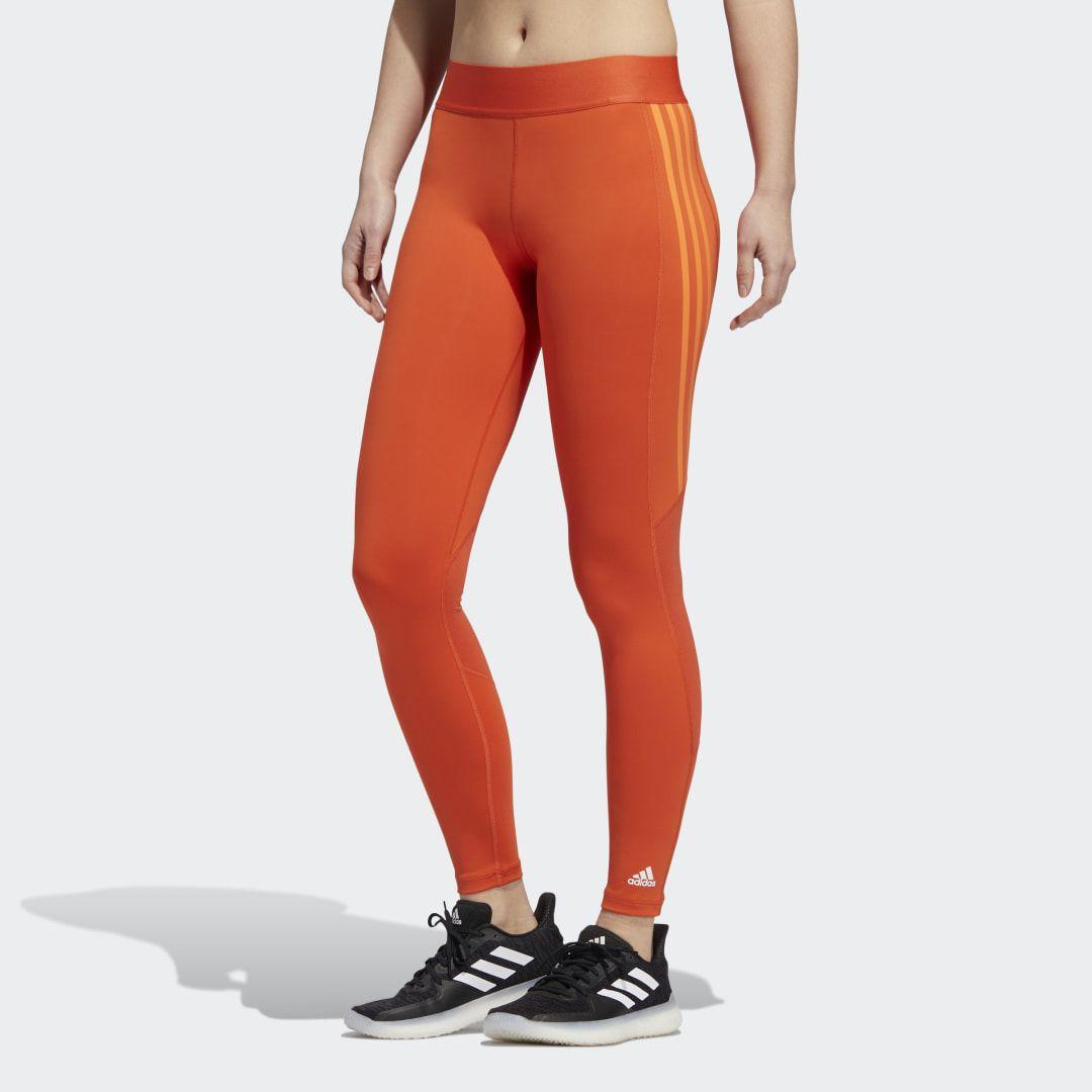 adidas Alphaskin 3-Streifen lange Tight - Orange | adidas Deutschland